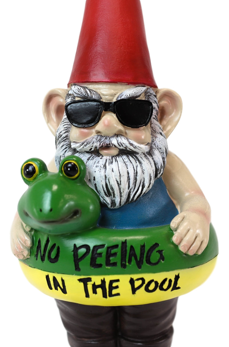 No Peeing In The Pool Lifeguard Vacation Gnome In Shades And Frog Float Statue