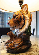Ebros Wildlife Orange Bengal Tiger Desktop Table Lamp Statue With Tan Fabric Shade As Home Decor of Tigers Jungle Giant Cats Exotic Animals Lighting Accessory