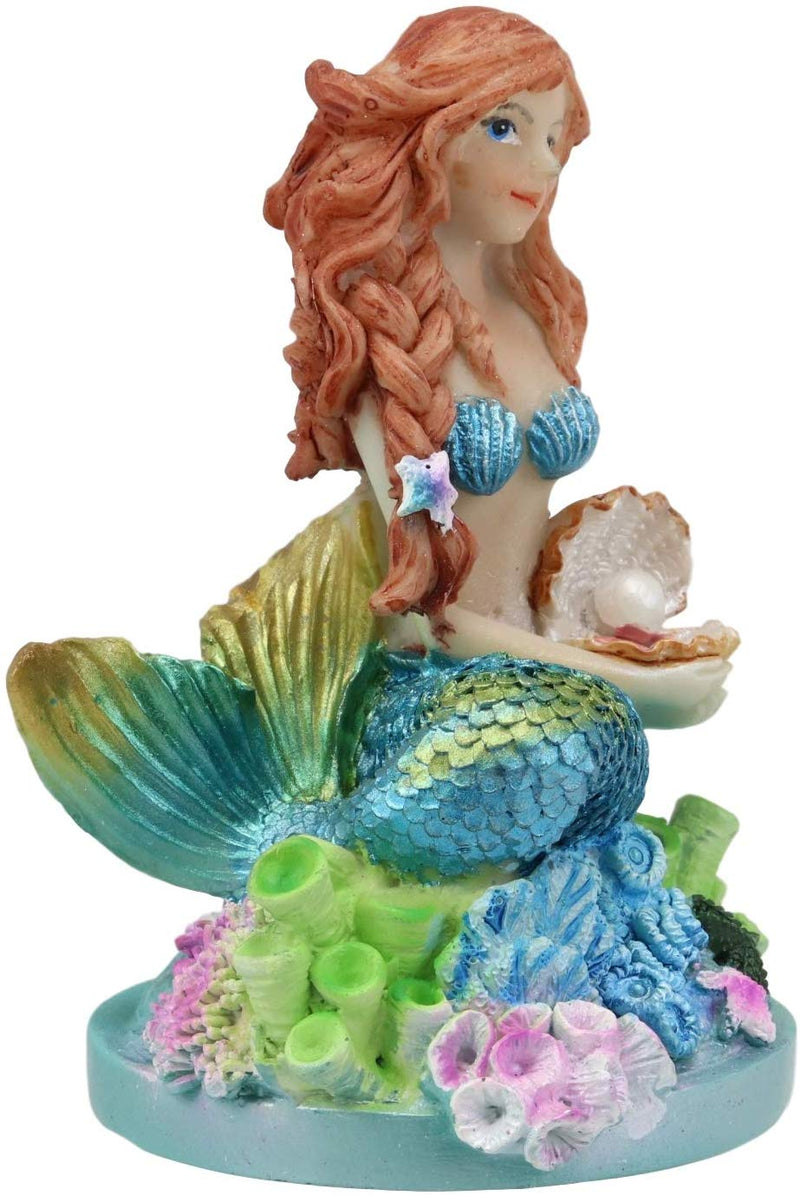 "Ebros 4.5"" Tall Colorful Nautical Ocean Mermaid Mergirl Ariel with Pearl Shell and Blue Tail Sitting On Corals Statue Under The Sea Fantasy Mermaids Mergirls Sirens of The Seas Figurines"