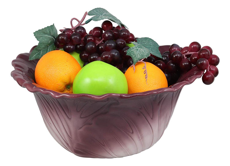 "Ebros 12.75""Wide Home Decor Accent Red Cabbage Leaf Fruit Or Salad Serving Bowl - Ebros Gift"