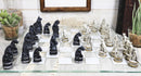 Gothic Vampires VS Werewolves Dracula Lycans Chess Pieces and Glass Board Set
