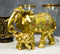 Noble Golden Decorated Elephant Embracing Calf Buddha Figurine Sculpture
