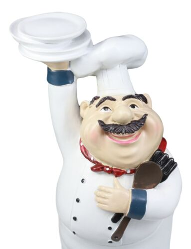 Be Our Guest French Bistro Chef Holding Plates And Utensils Statue Kit
