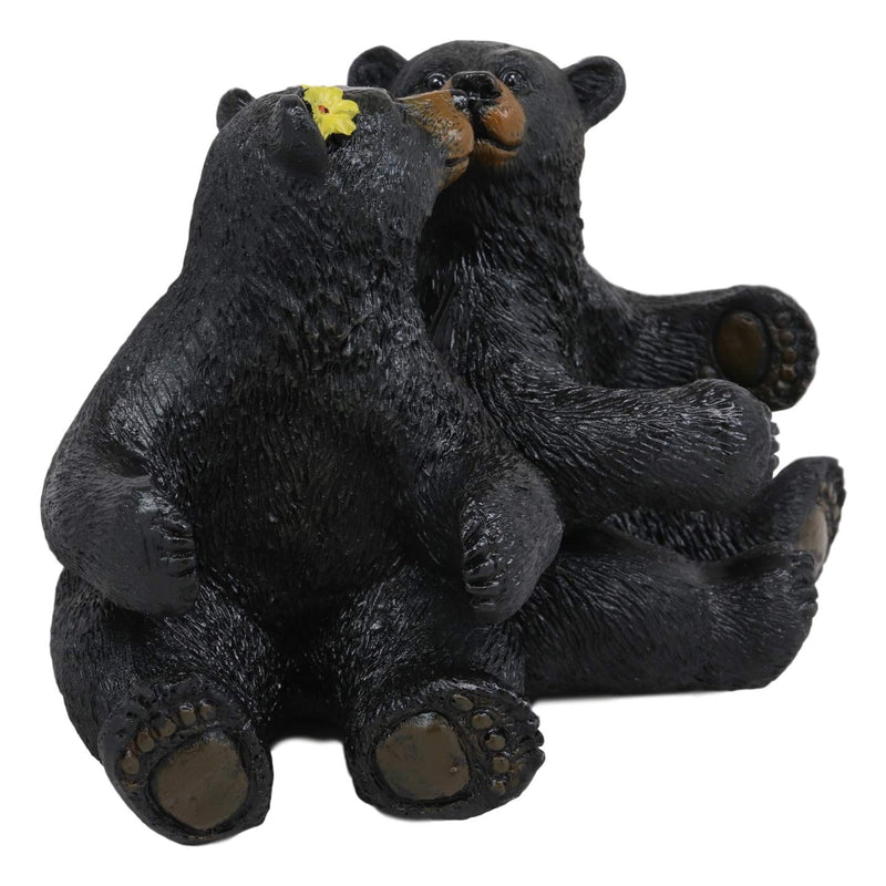 Ebros Whimsical Valentines Black Bear Couple Kissing Figurine Holder With Glass Salt And Pepper Shakers Romantic Bears Rustic Home And Kitchen Dining Decorative Statue Cabin Lodge Mountainside Decor