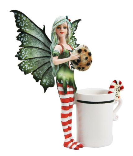 Amy Brown Chocolate Cookie Candy Cane Tea Cup Christmas Fairy Collector Figurine