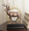 Rustic 12 Point Buck Stag Deer Bronze Patinated Resin Statue With Trophy Base