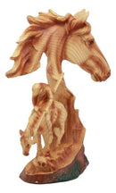 "Ebros Faithful Steed End of The Trail Statue 9"" Tall Horse Bust with Native Indian Warrior Resin Decor in Faux Wood Finish"