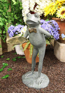 "Ebros Gift 20"" Tall Aluminum Rustic Whimsical Green Frog with Bow Tie Waiter Butler Garden Side Tray Table Or Bird Feeder Statue Decorative Frogs and Toads Zen Feng Shui Accent Decor"