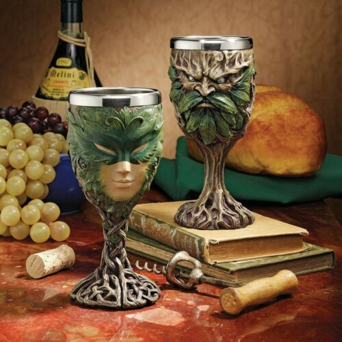 Rustic Woods Forest Spirit Greenman And Greenlady Wine Goblet Chalice Set 8oz