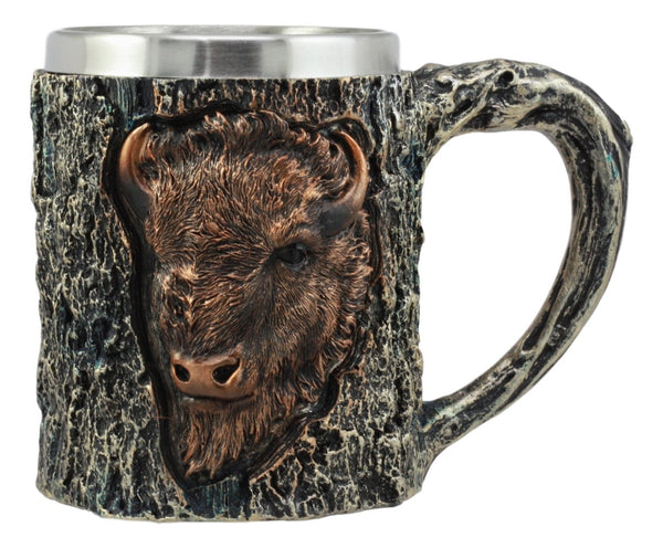 Ebros Nature Wild Bison Mug With Rustic Tree Bark Texture Design In Painted Bronze Finish 12oz Drink Beer Stein Tankard Coffee Cup
