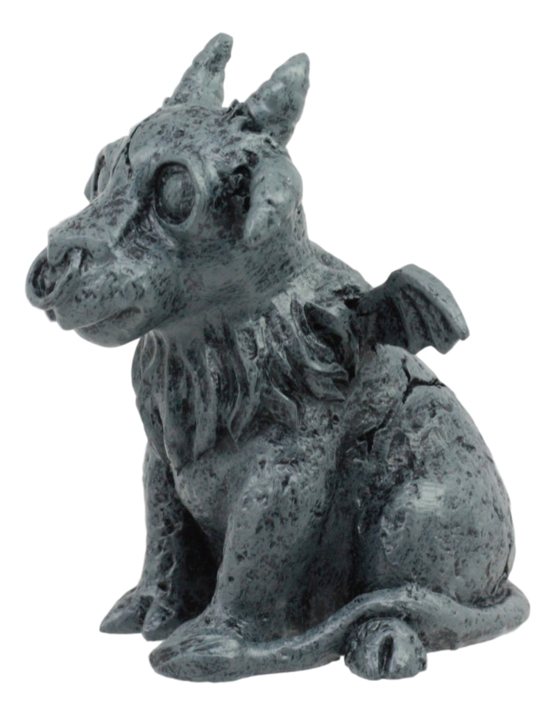 "Ebros Gothic Winged Guardian Baby Goat Gargoyle Statue Faux Stone Resin Small 2.5"" Tall Collectible Sculpture Figurine Renaissance Medieval Decor"