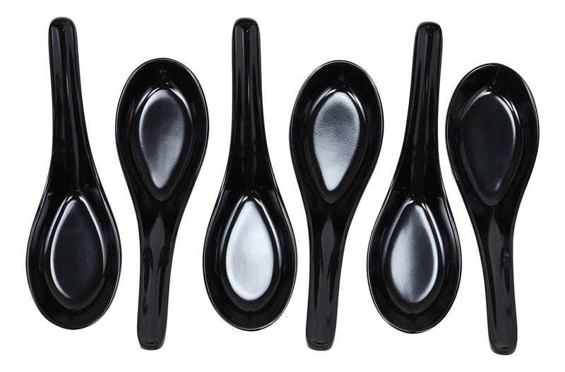 Glossy Black Melamine Soup Spoons Pack Of 6 Set Restaurant Supply Food Spoon
