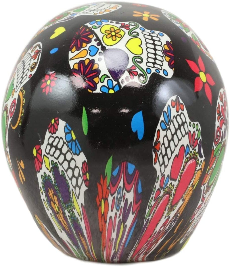 Ebros Day Of The Dead Black Sugar Skull With Floral Tattoo Cranium Skull Statue