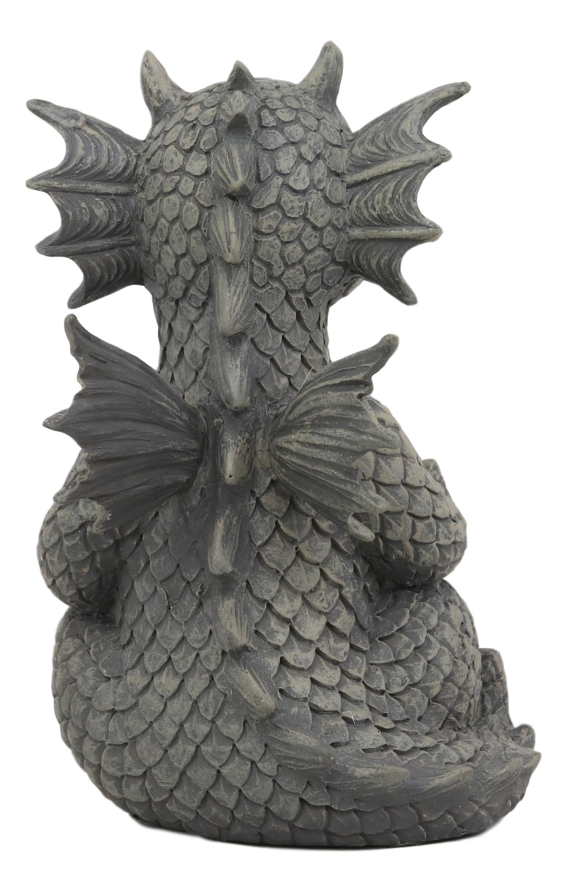 "Ebros Whimsical Meditating Dragon Fists Inner Qi Strength Power Statue 5"" Tall Faux Stone Resin Finish Fantasy Animated Dungeons and Dragons Welcome Guest Greeter Decor Figurine"