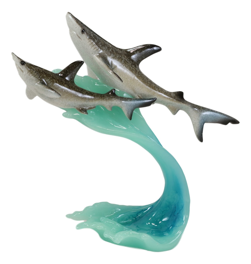 Marine Great White Shark Mother & Baby Swimming With Ocean Waves Acrylic Statue