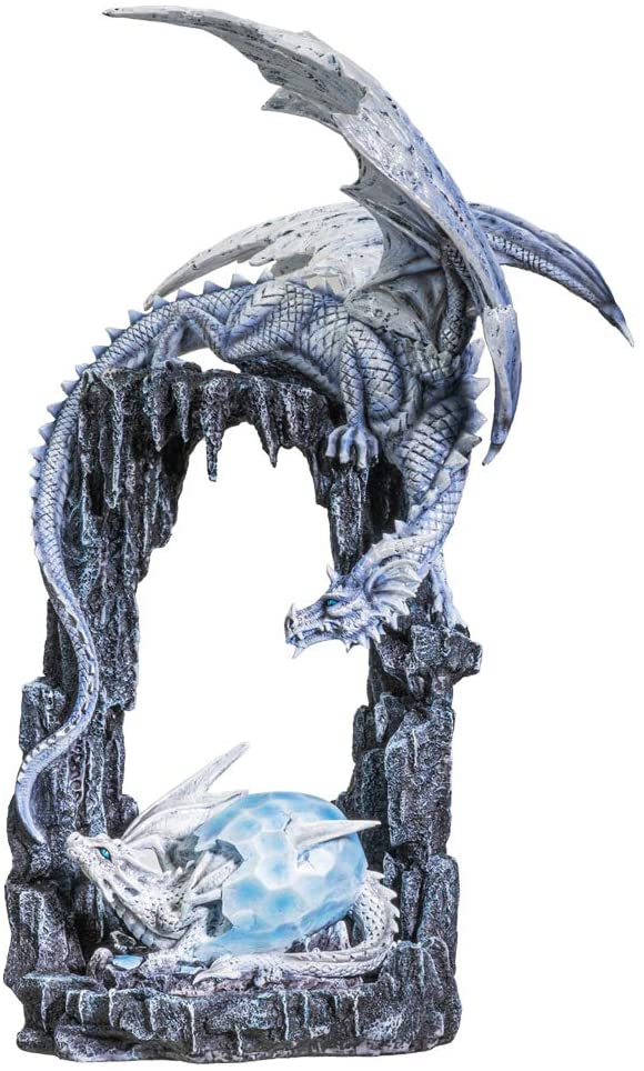 "Ebros Ice Dragon Mother and Baby Hatchling in Egg Statue Decor Figurine 20""H"