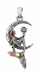 Ebros Pewter Mermaid Luna Sitting on Moon Pendant with Enameled Highlights