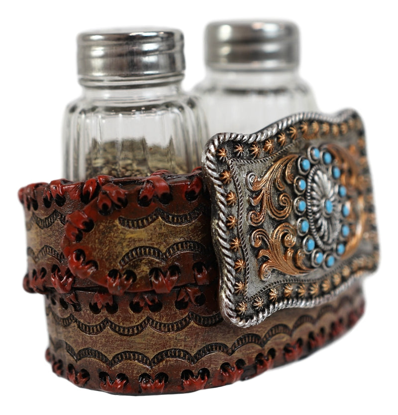Western Turquoise Sun And Floral Lace On Belt Buckle Salt Pepper Shakers Set