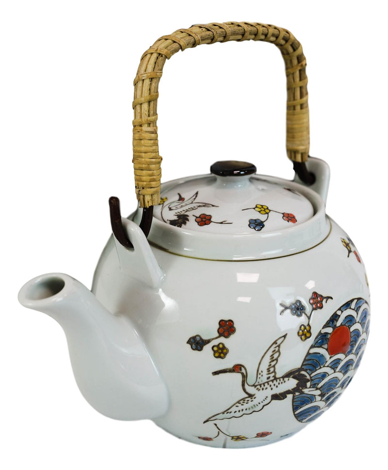 Crane And Red Moon Cherry Blossoms Ceramic 38oz Large Tea Pot With Bamboo Handle