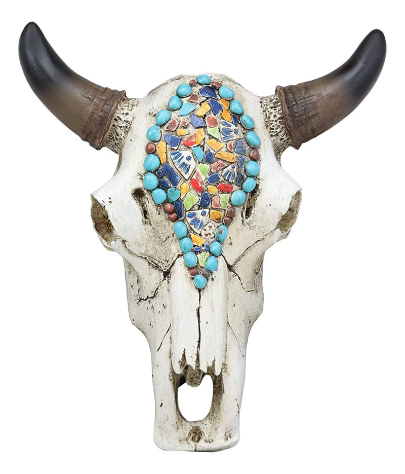 Western Mosaic Steer Cow Bull Skull /& Horns Turquoise Wall Art Table Sculpture
