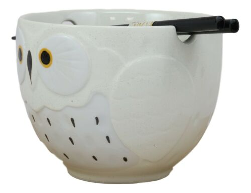 Whimsical Ceramic White Owl Ramen Udong Noodles Soup Bowl With Chopsticks Set