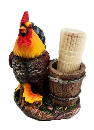 Country Farm Rooster With Wooden Pail Toothpick Holder Statue With Toothpicks