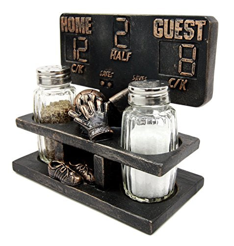"Ebros Extra Inning Home Run Baseball Scoreboard Salt And Pepper Shakers Holder Figurine Set 5.75""L With Glass Shakers"