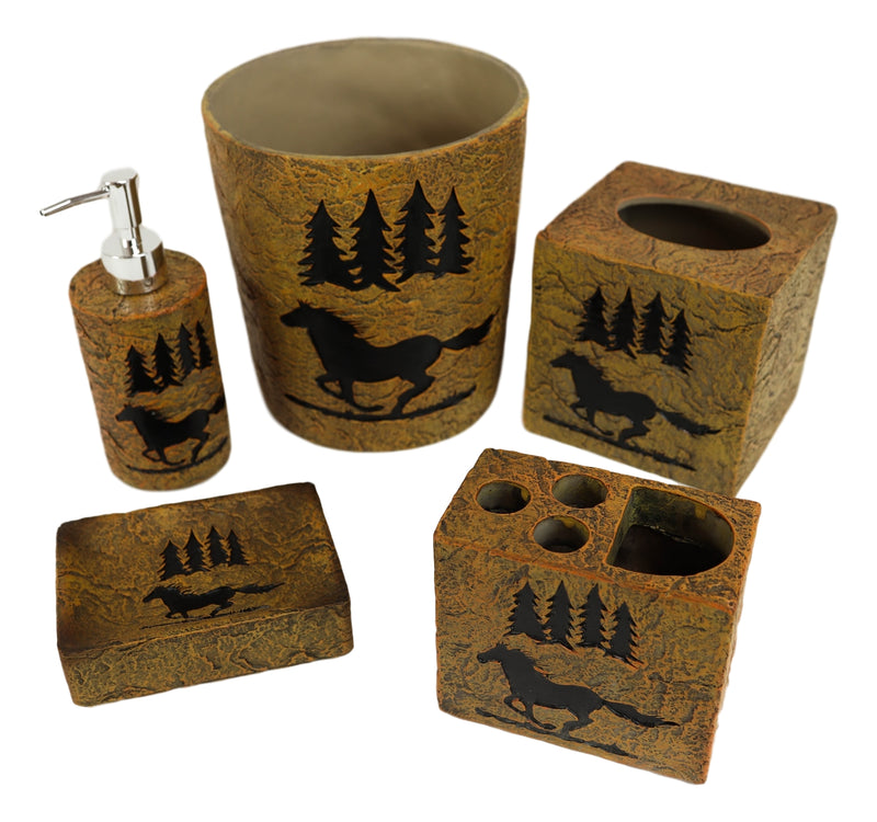 Wildlife Rustic Galloping Mustang Horse Pine Trees Forest 5 Piece Bathroom Set