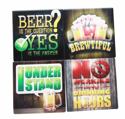 All About Beer Life is Brewtiful Men Gift Ceramic Coaster Set Of 4 Corked Tiles