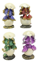 Whimsical Baby Dragon Egg Hatchlings Bobblehead Figurine Set In Metallic Colors