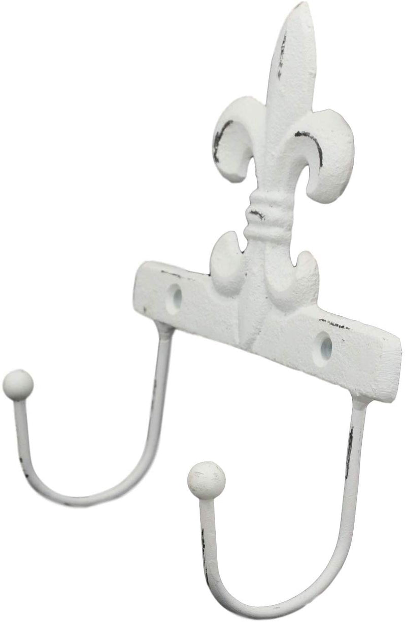 "Ebros Gift 5.75"" Tall Cast Iron Rustic Vintage Distressed White Fleur De Lis Emblem with 2 Peg Hooks Decorative Wall Hook Southwestern Hangers Accent for Keys Leashes Coats Hats (1)"