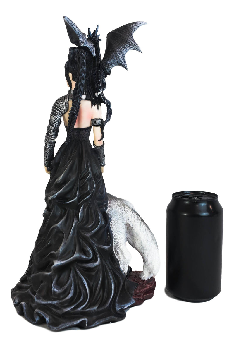Gothic Maestra Maleficent Witch Fairy With Alpha Wolf and Black Dragon Statue