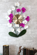Large Lifelike White Purple Floral Orchid Blooms Gold Plated Metal Wall Clock