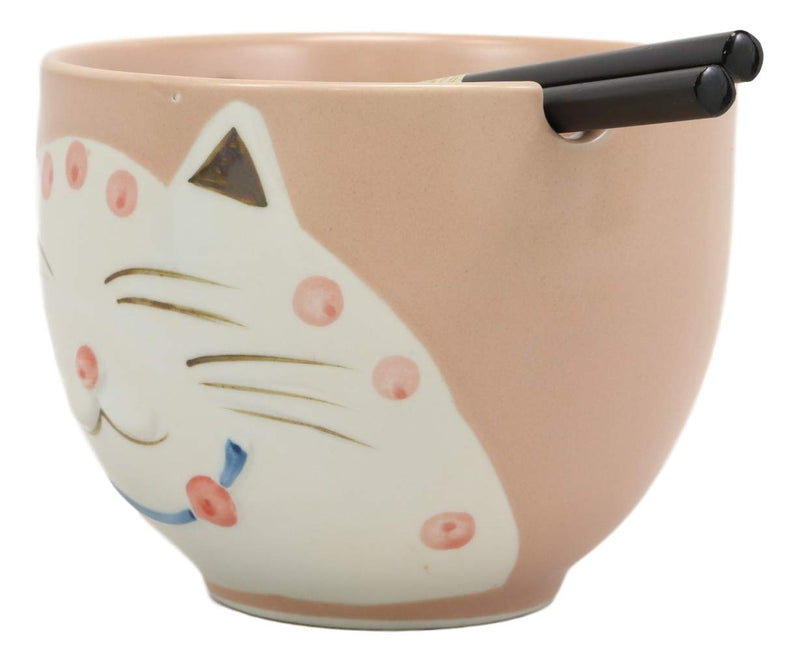 Ebros Whimsical Ceramic Pink Lucky Meow Cat Ramen Noodle Bowl and Chopsticks Set