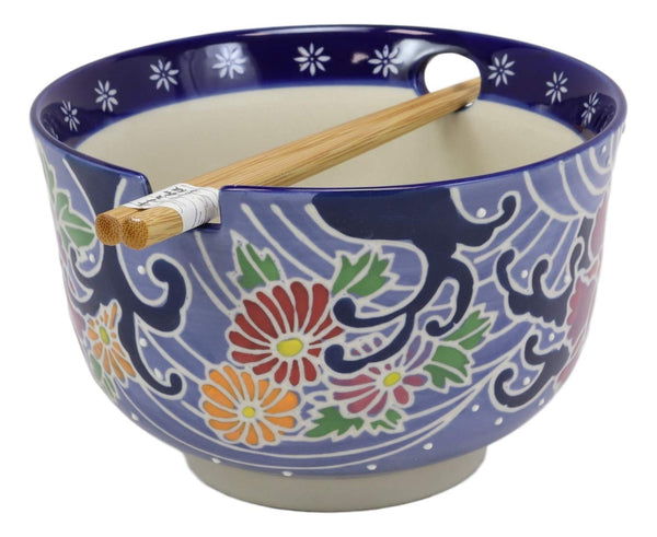 "Ebros Blue Colorful Floral Breeze Ramen Udon Noodles Large 6.25"" Diameter Soup Bowl With Built In Rest and Bamboo Chopsticks Set for Rice Pasta Salad"