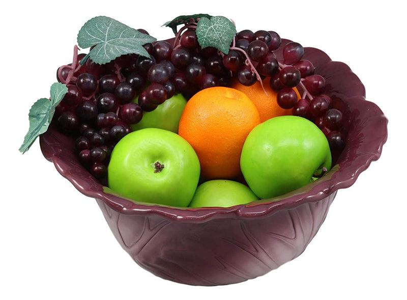 "Ebros 12.75""Wide Home Decor Accent Red Cabbage Leaf Fruit Or Salad Serving Bowl"
