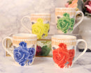 Colorful Petite English Victorian Floral Blossoms Porcelain Tea Coffee Mug Set