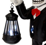 Day Of The Dead Skeleton Mariachi Singer Statue With Solar Powered Lantern LED