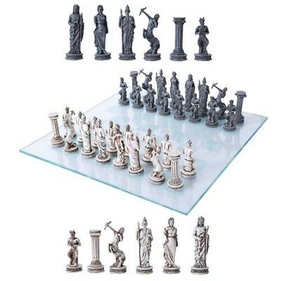 Olympus At War Greek Olympian Deities Resin Chess Pieces With Glass Board Set