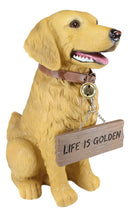 Large Golden Retriever Puppy Dog Decor Statue With Jingle Collar Greeting Sign