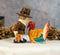 Thanksgiving Pilgrim With Axe Kissing Turkey Ceramic Salt and Pepper Shakers Set