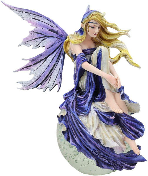 "Ebros Blonde Fairy Sitting On Lunar Full Moon Statue 8.5"" Tall by Nene Thomas"