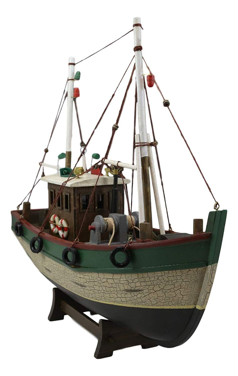 "Ebros 18""L Wooden Handicraft Nautical Fishing Vessel Boat with Wood Base Figure - Ebros Gift"