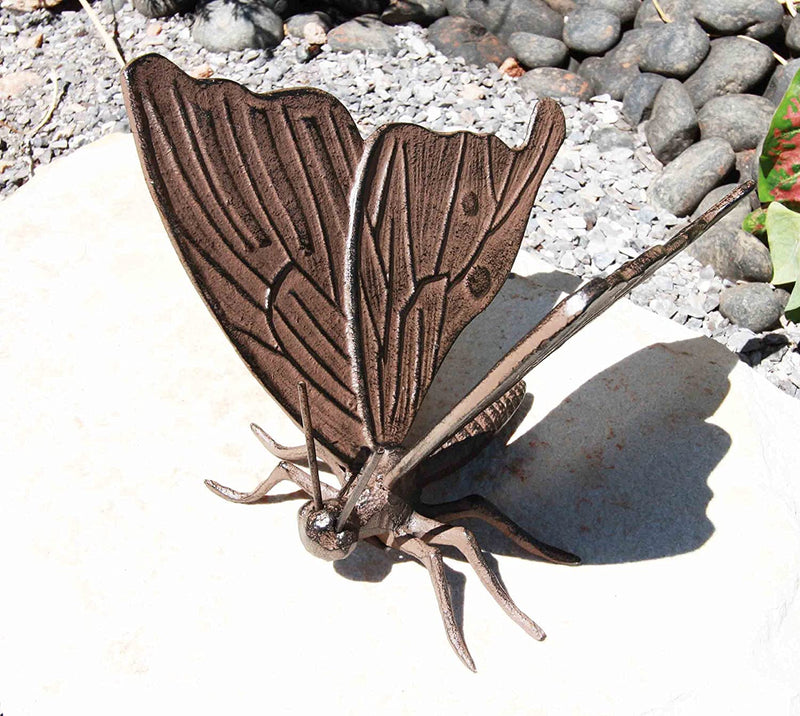 "Ebros 7"" Long Metamorphosis Flitting Butterfly Bronzed Decorative Garden Statue"