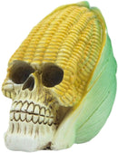 "Ebros Vegetable Produce Maize Corn Skull Statue 6.25"" Long Resin Figurine"