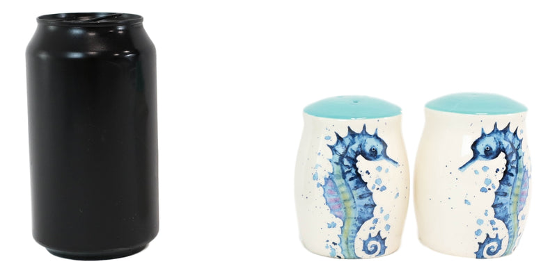 Nautical Blue White Seahorse With Bubbles Ceramic Salt And Pepper Shakers Set