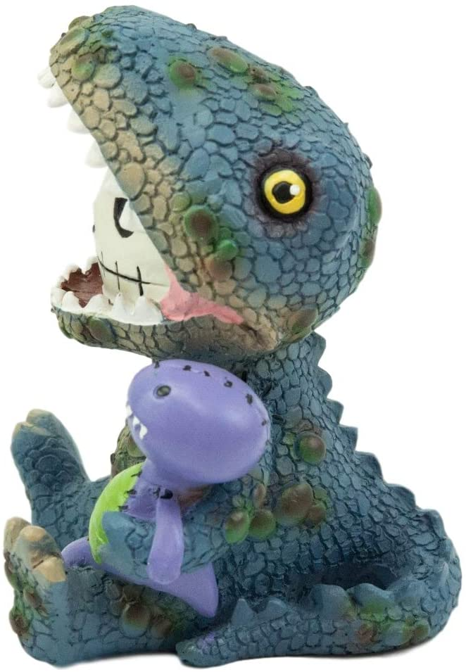 "Ebros Larger Furry Bones Rex The Tyrannosaurus and Purple Dinosaur Skeleton 4""H"