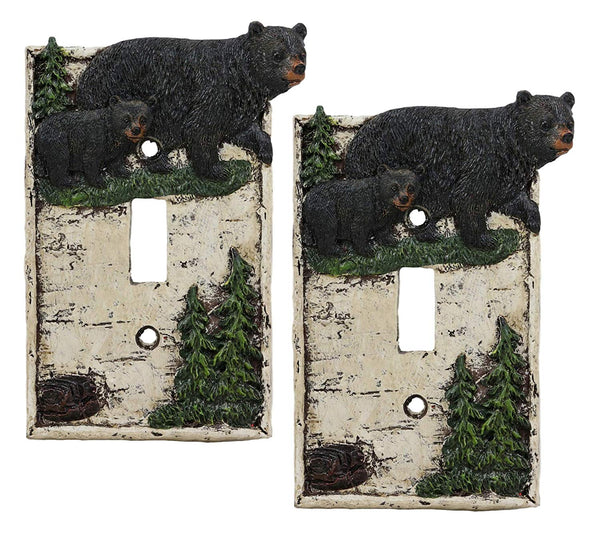 Ebros Set of 2 Novelty Woodland Rustic Pine Trees Forest Black Mother Bear with Cub Wall Light Cover Plate Hand Painted Sculpted Resin Home Decor Accessory 2 Piece Pack (Single Toggle Switch)