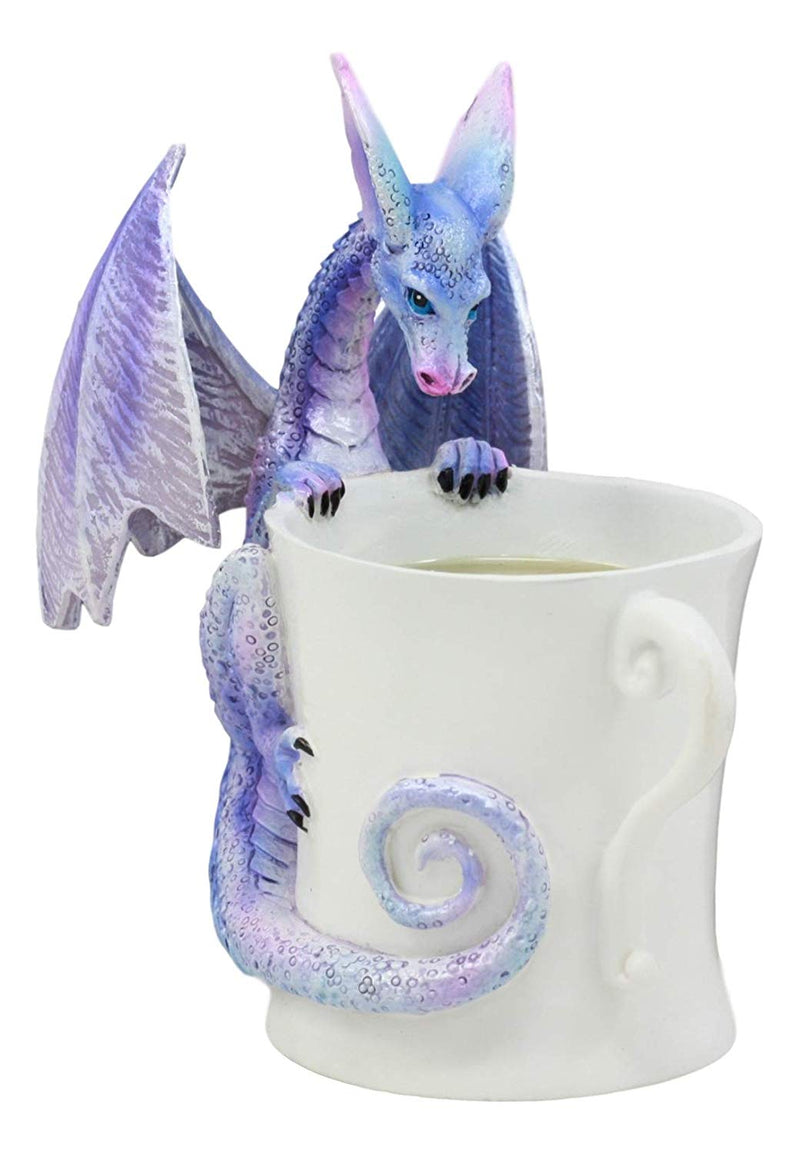 "Ebros Amy Brown Whatcha Drinkin Peeking Midnight Teacup Dragon Statue 4.5"" Tall Whimsical Beverage Tea Or Coffee Lover Sculpture Decor Figurine"
