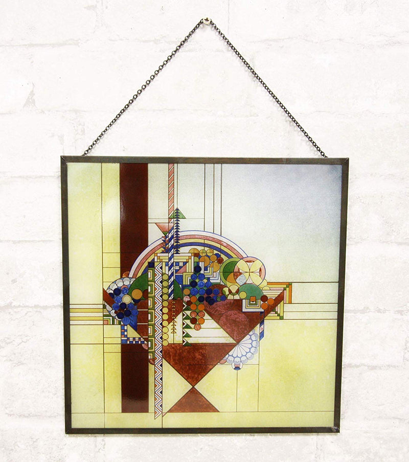 Ebros Frank Lloyd Wright Metal Framed Magazine Cover Page May Basket Stained Glass Art with Wooden Base As Desktop Plaque Or Metal Chain Hanging Wall Decor Modern Architecture